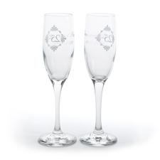 Silver anniversary champagne flutes