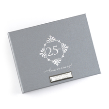 Silver anniversary guest book metalic foil stamped 25th